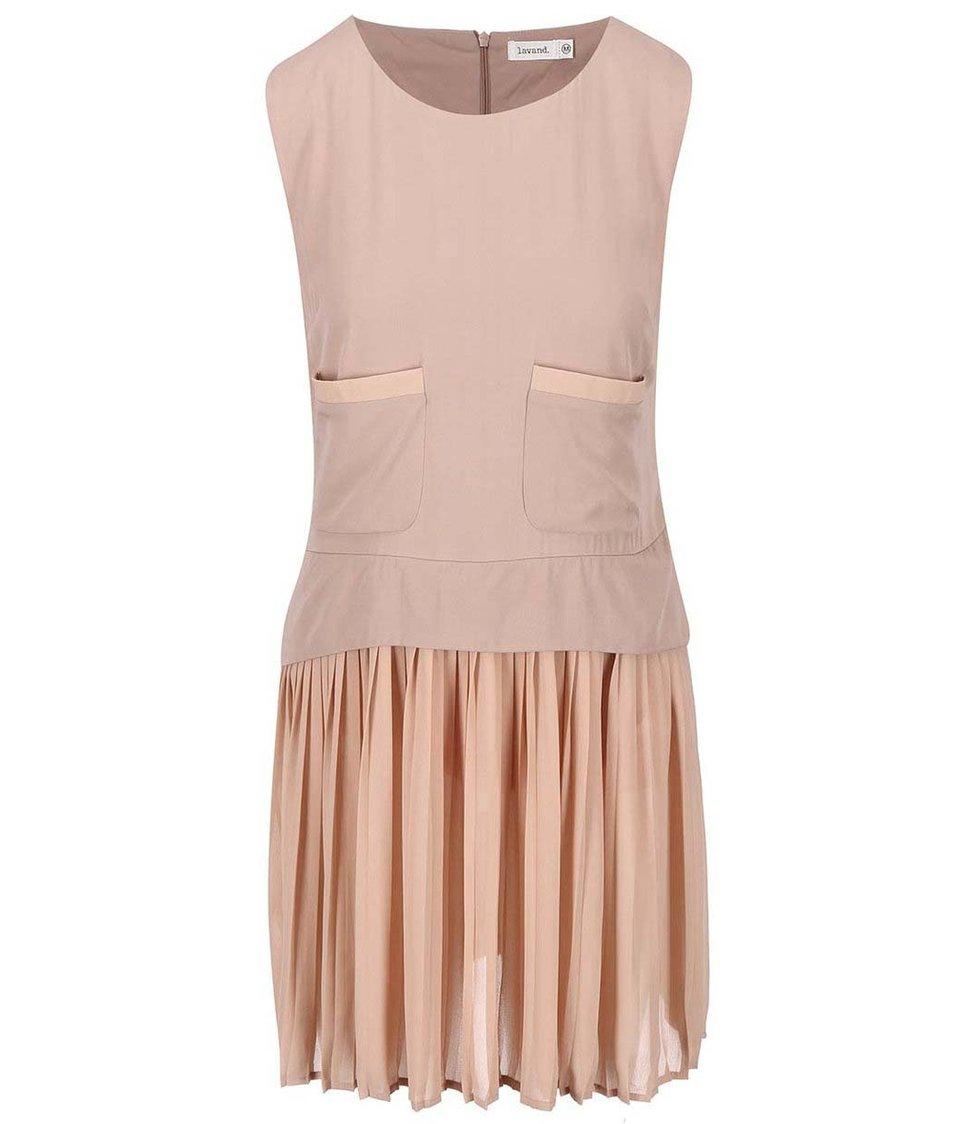 Růžové šaty s plisovanou sukní Lavand