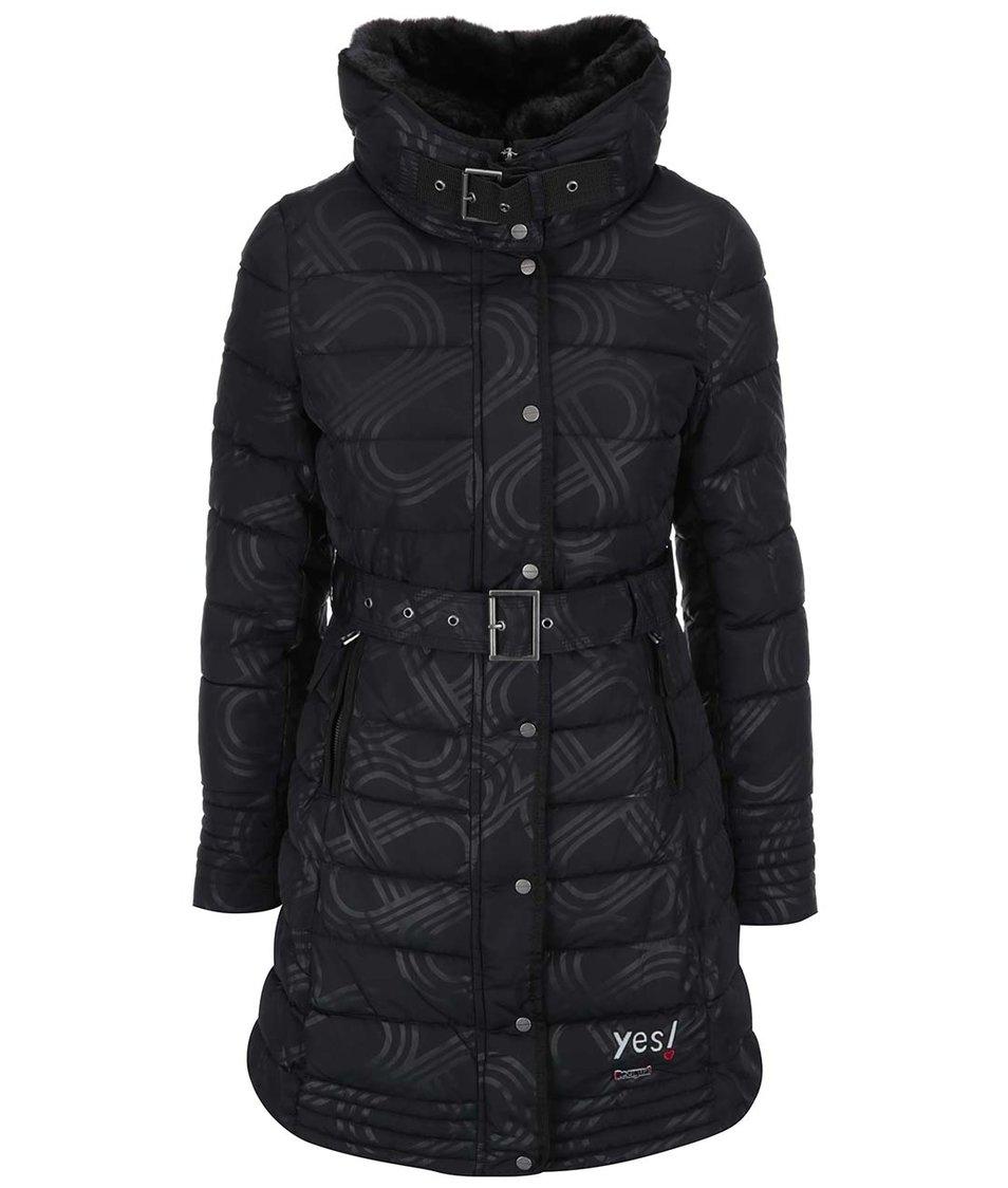 Černý vzorovaný kabát Desigual Four