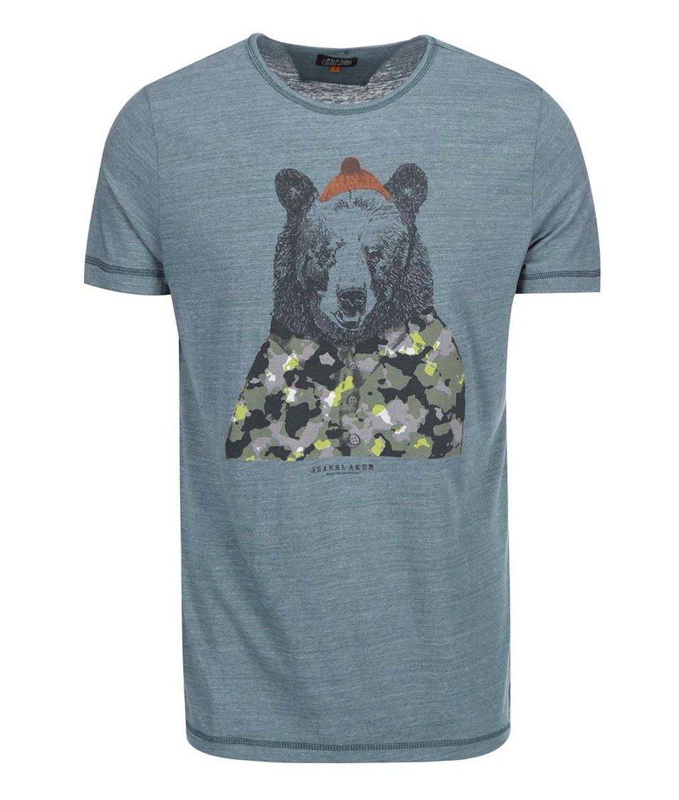 Šedomodré žíhané triko s potiskem medvěda Blend