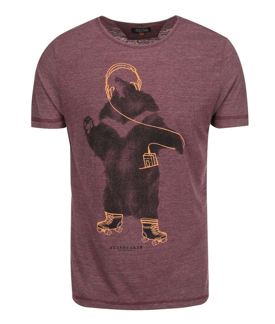 Vínové žíhané triko s potiskem medvěda Blend