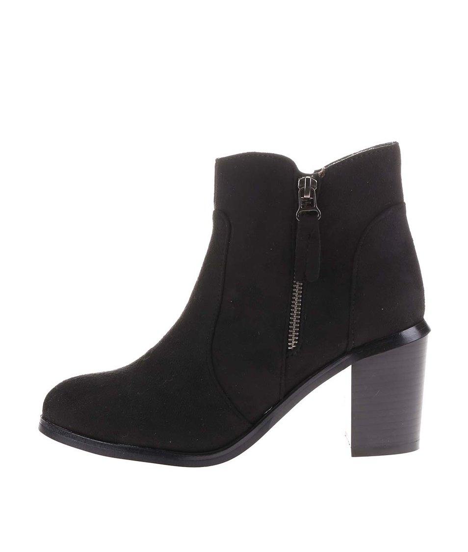 Černé kotníkové boty na podpatku s ozdobným zipem La Push