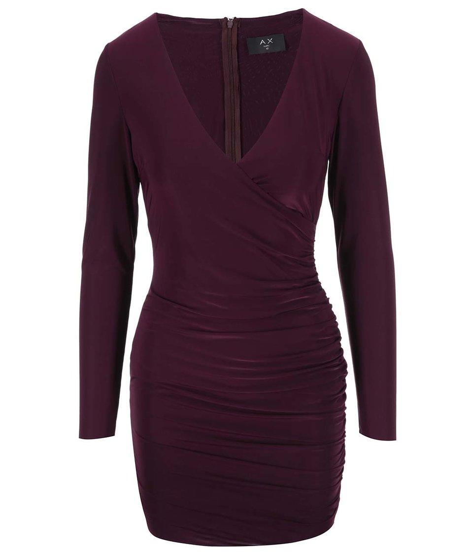 Vínové nařasené šaty s dlouhými rukávy AX Paris