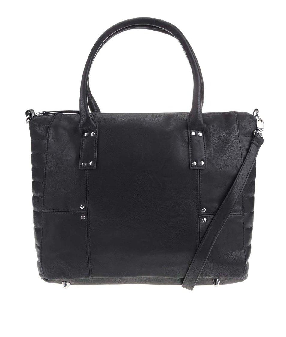 Černá kabelka s kovovými detaily Pieces Volka
