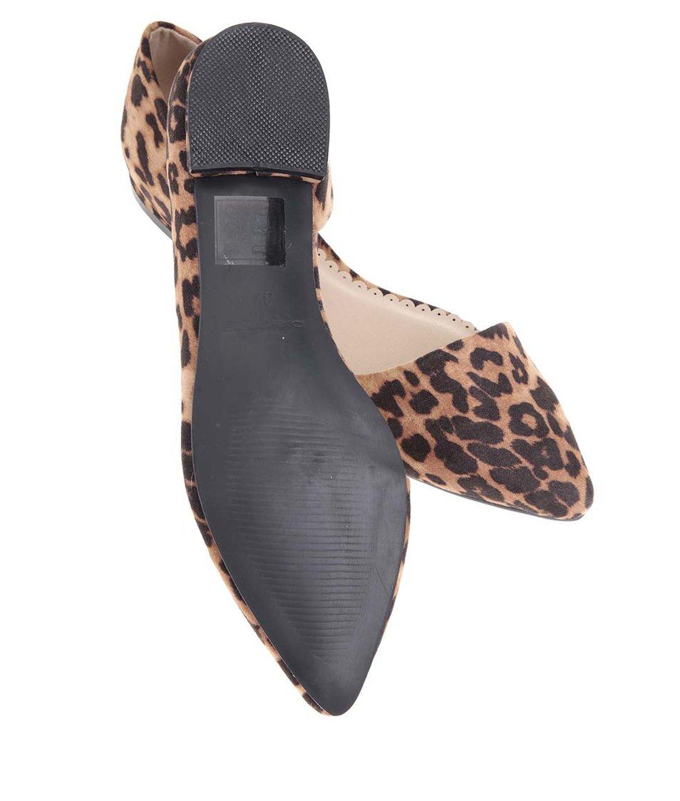 Hnědé balerínky s leopardím vzorem Pieces Vani