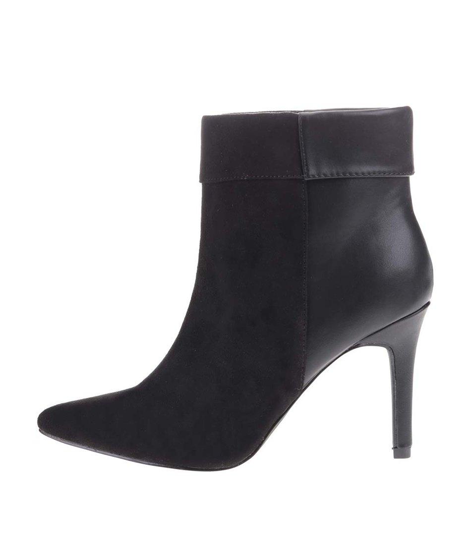 Černé kotníkové boty na podpatku Pieces Valerie