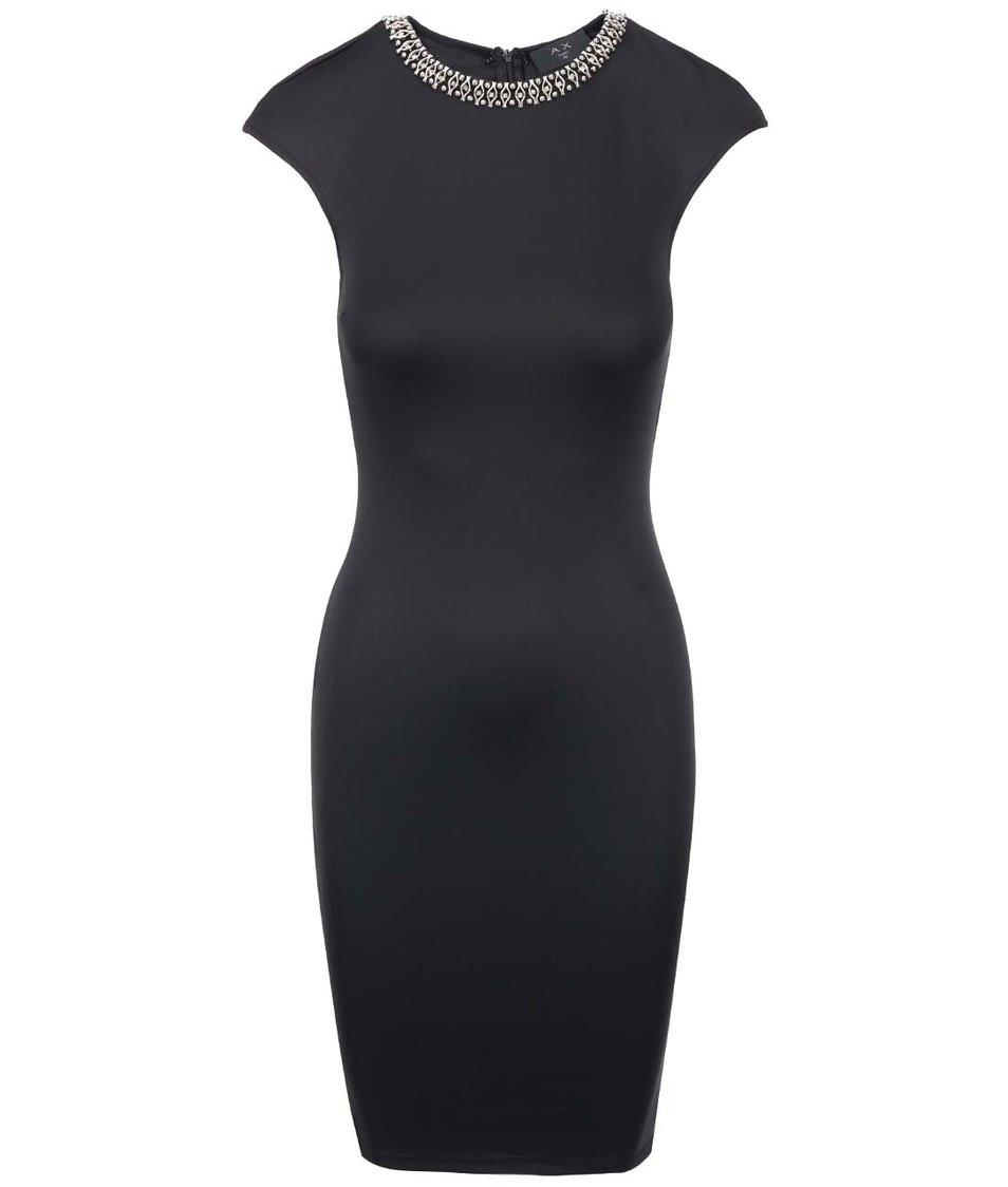 Černé přiléhavé šaty s ozdobným výstřihem AX Paris