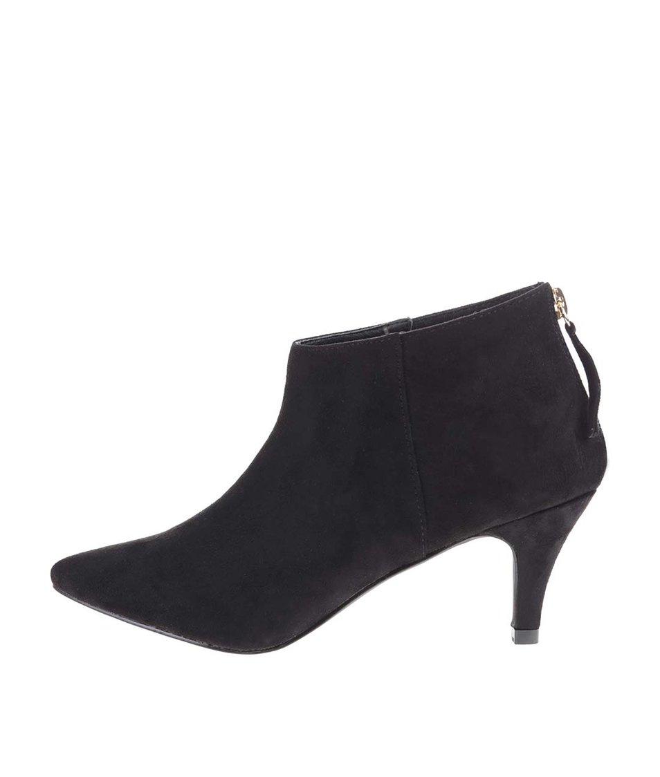Černé kotníkové boty na nízkém podpatku Pieces Valua