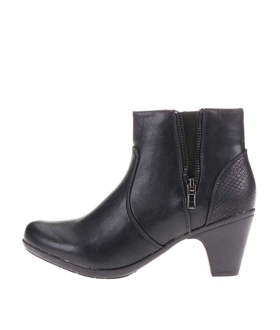 Černé kotníkové boty s ozdobným zipem La Push