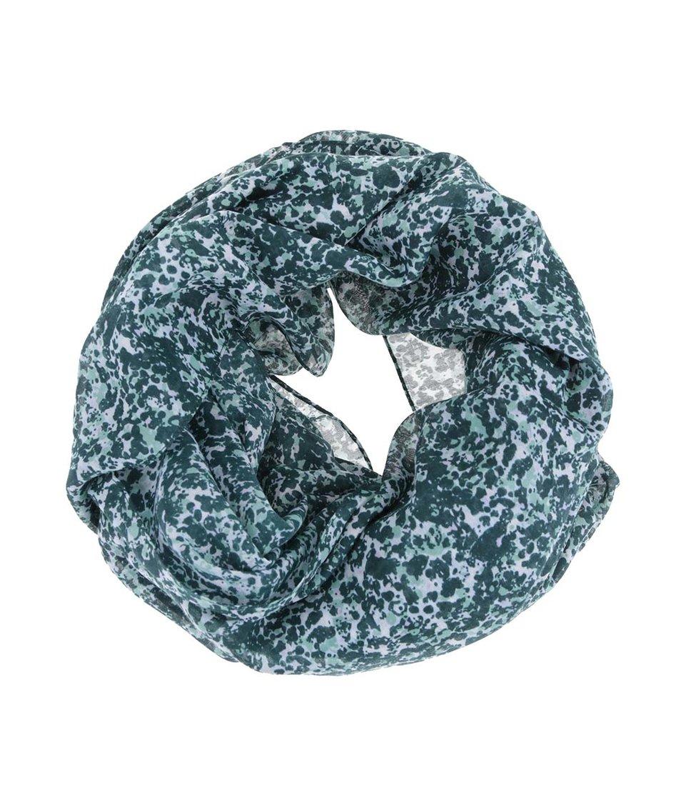 Zelený vzorovaný dutý šátek Pieces Vana