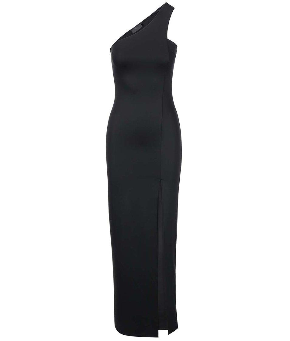 Černé maxišaty na jedno rameno s vysokým rozparkem AX Paris