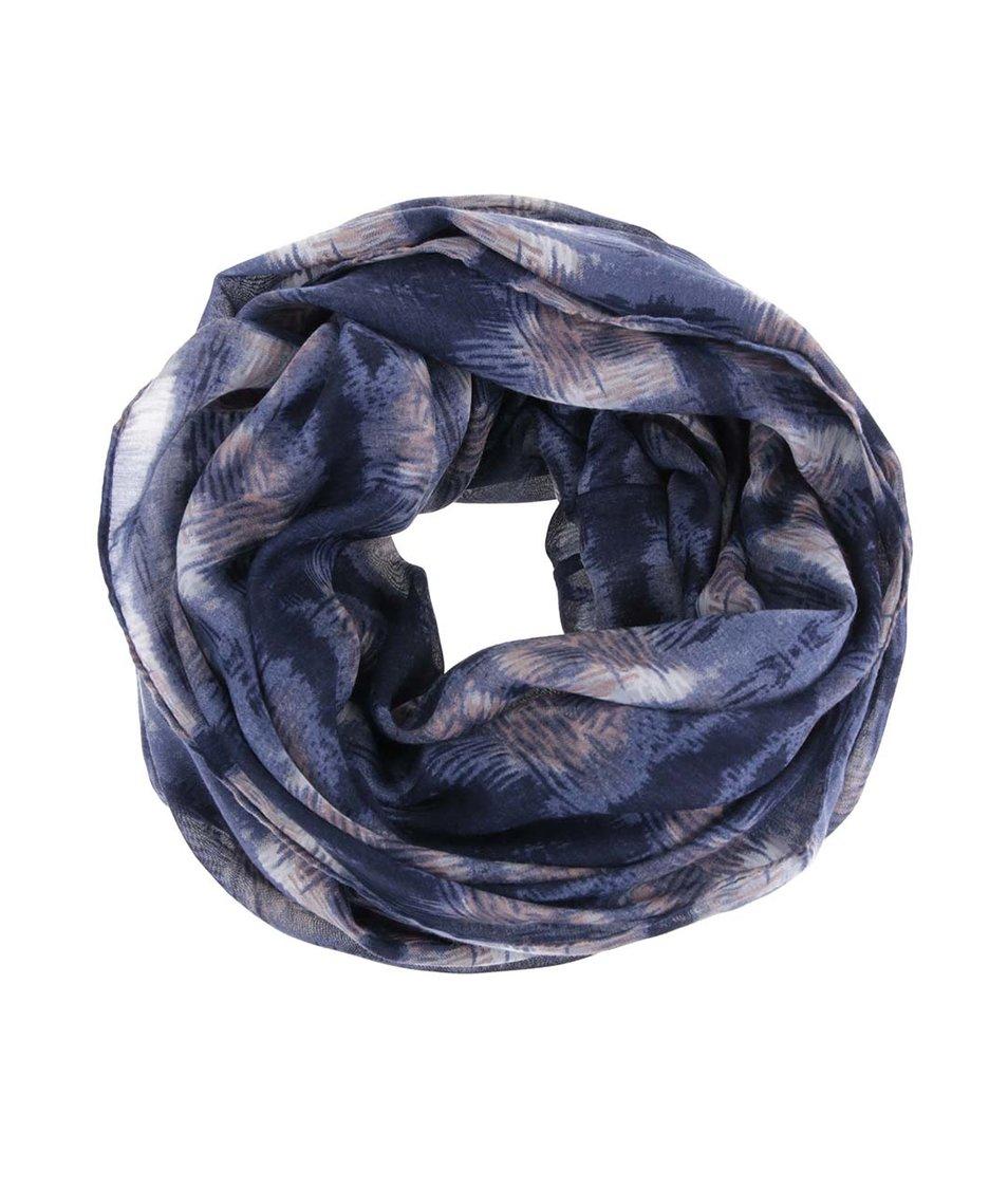 Modrý dutý šátek se vzorem Pieces Vanda