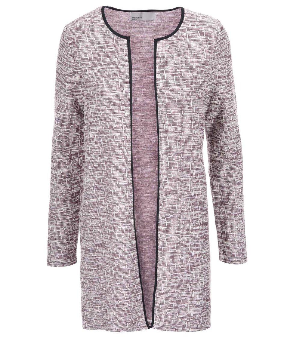 Krémovo-vínový žíhaný cardigan Vero Moda Ethica