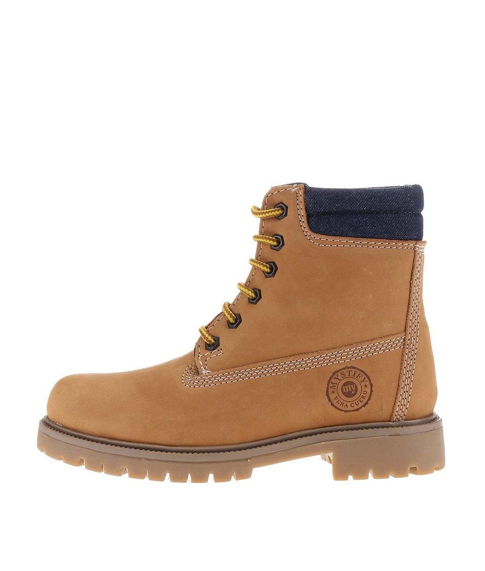 Hnědé kožené boty s džínovým lemem Mystify