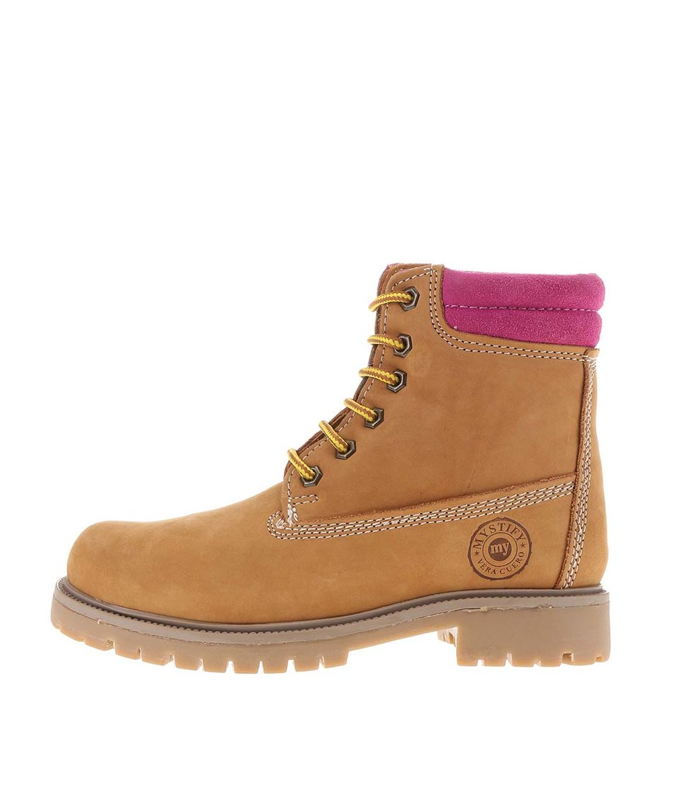 Hnědé kožené boty s růžovým lemem Mystify