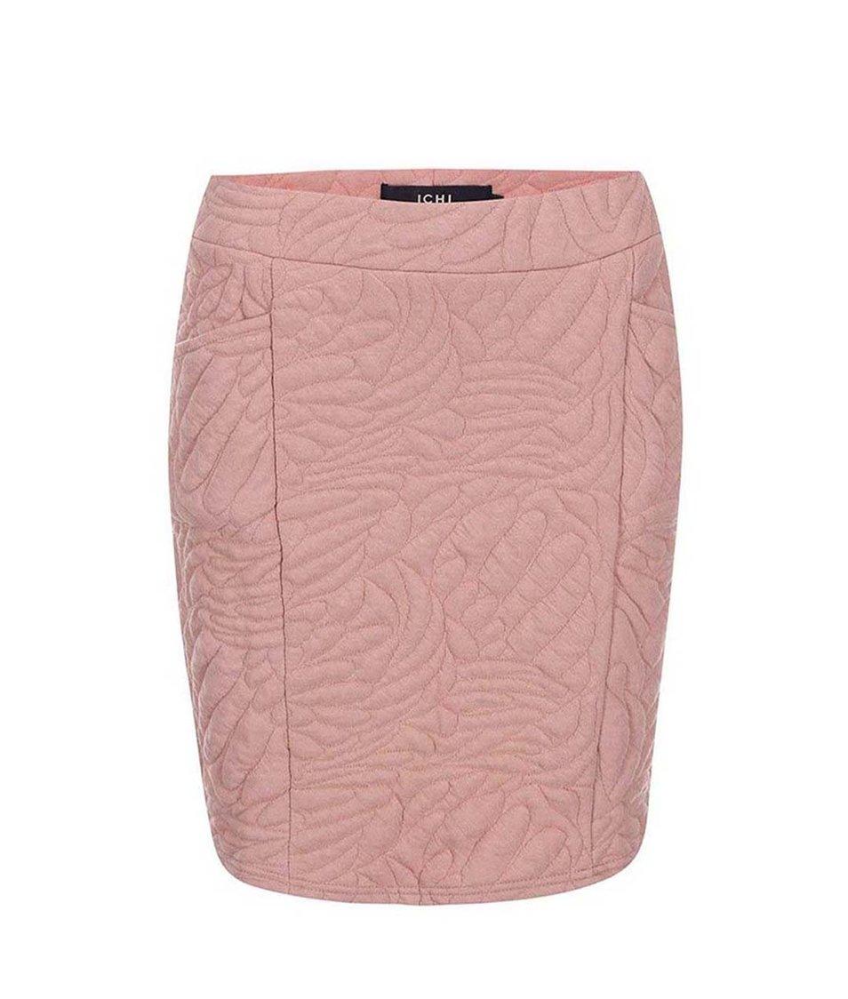 Starorůžová vzorovaná sukně s kapsami ICHI Petit