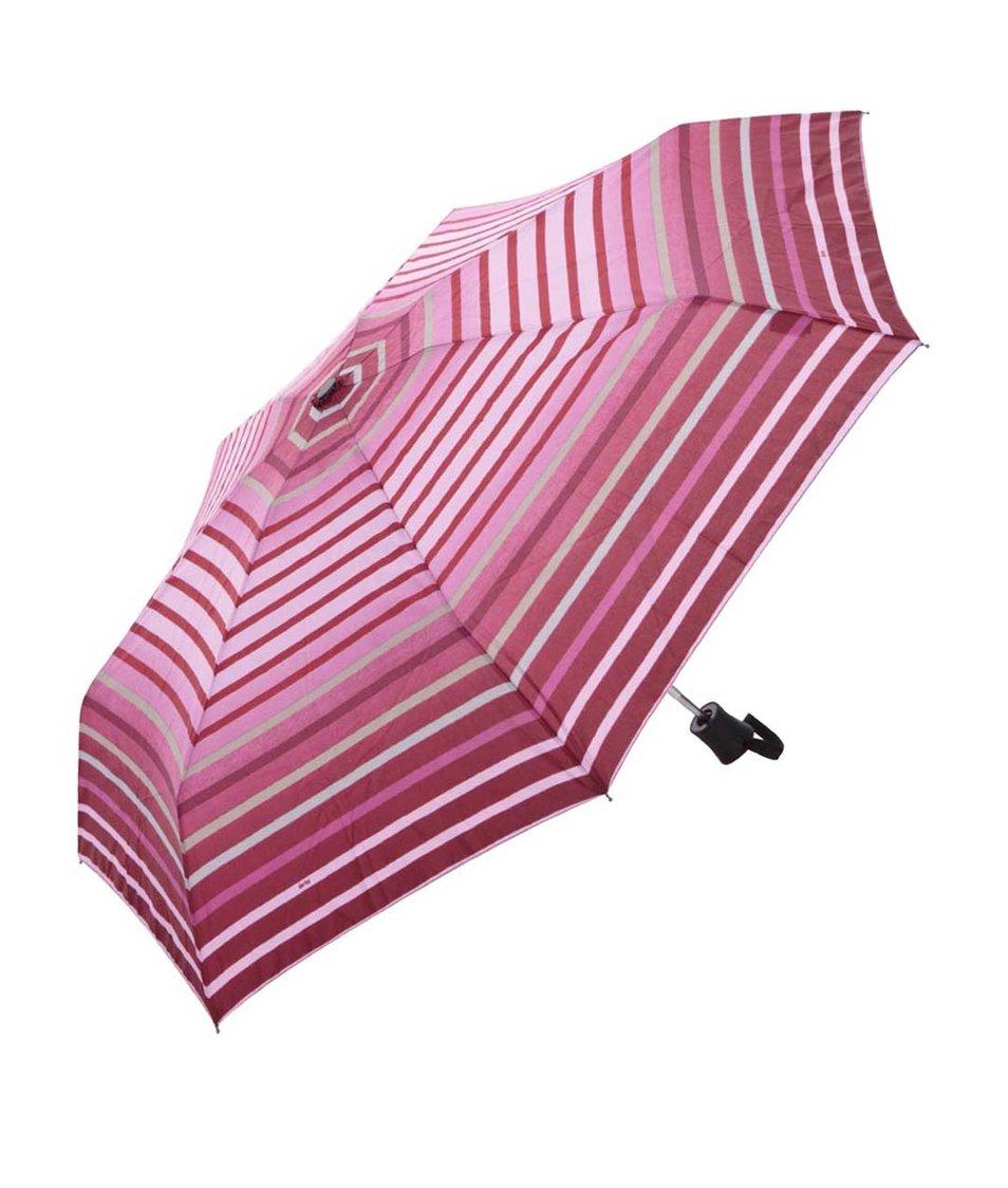 Růžový vystřelovací deštník s pruhy Derby