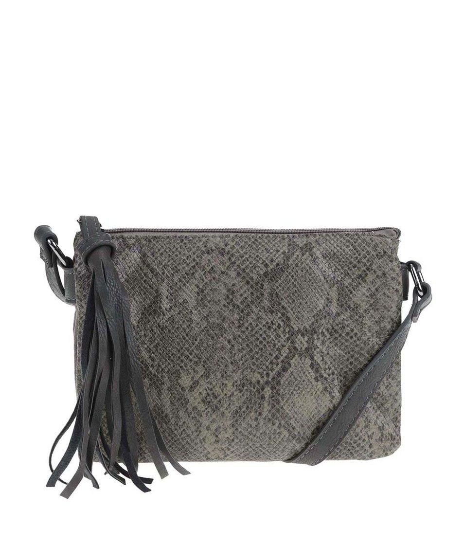 Tmavě zelená menší kabelka s hadím vzorem Pieces Rossella