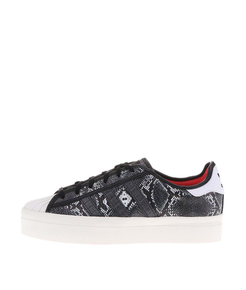 Šedé dámské tenisky s hadím vzorem adidas Originals Superstar