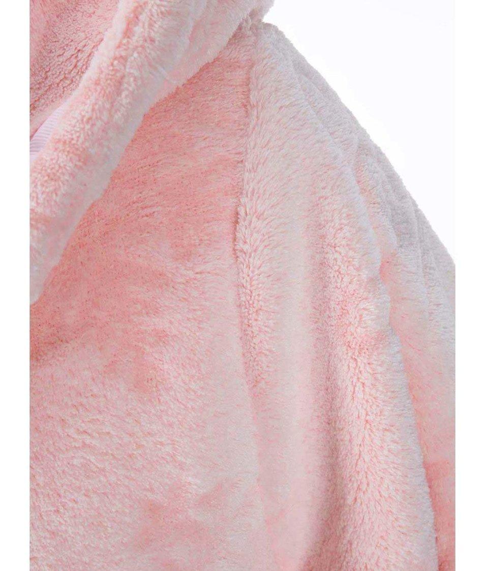 Růžový župan s motivem sněhových vloček Lipsy