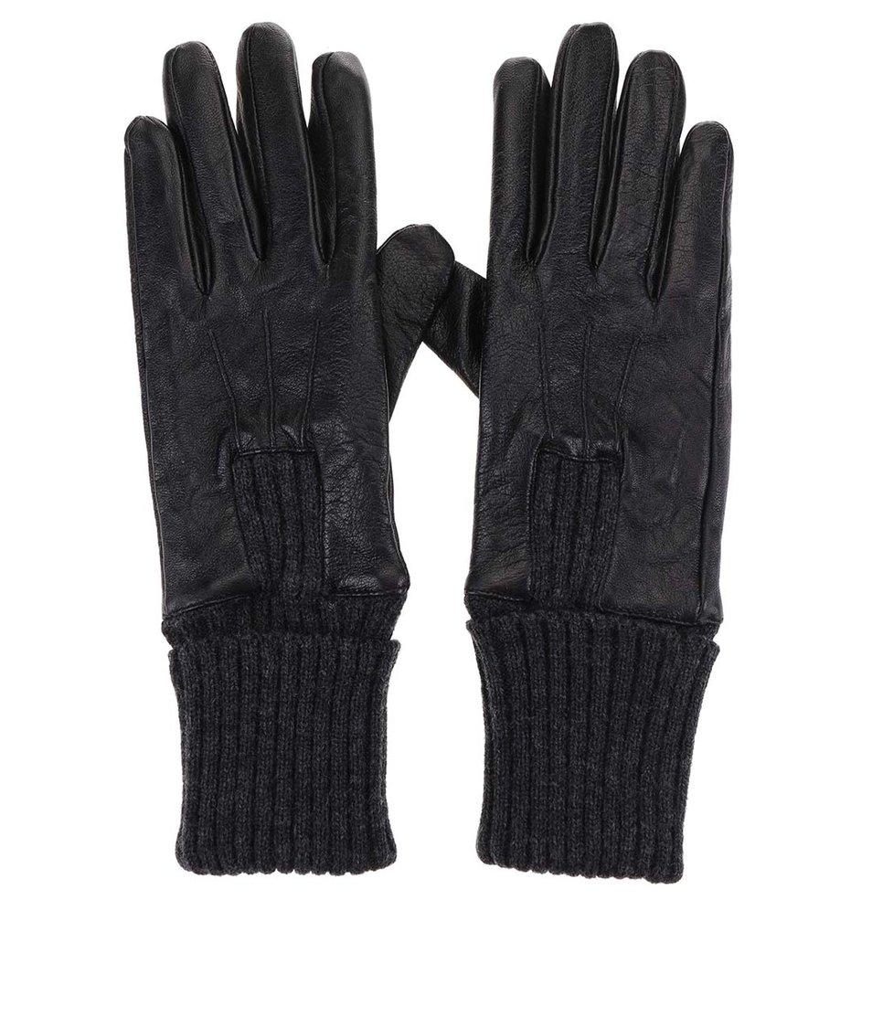 Černé kožené rukavice ONLY Olga