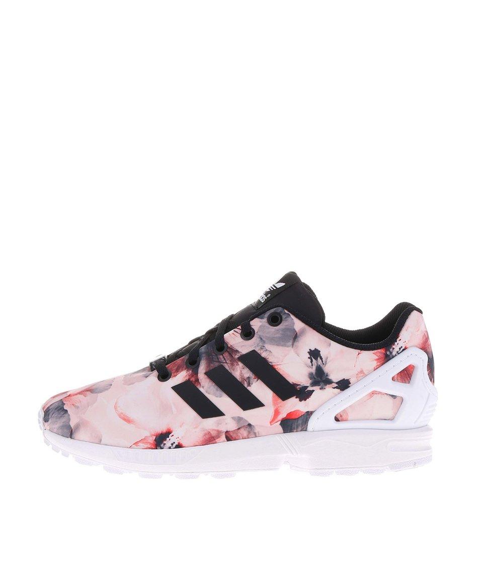 Růžové dámské květované tenisky se vzorem adidas Originals Flux K