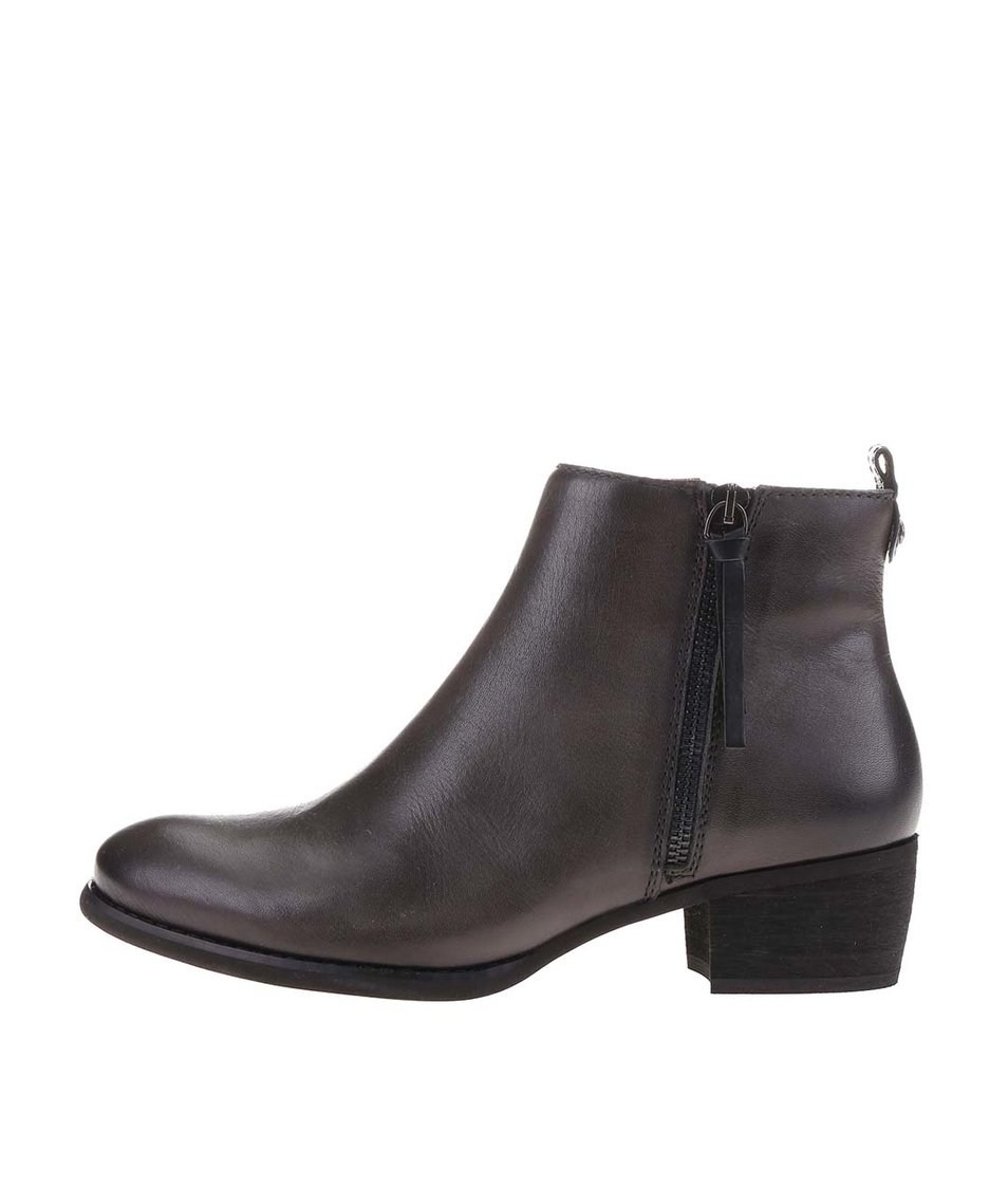 Tmavě šedé kožené kotníkové boty se zipem Pikolinos