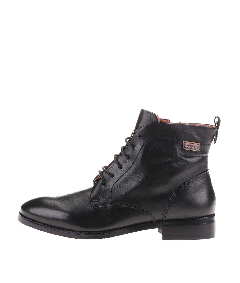 Černé kožené kotníkové boty na šněrování Pikolinos