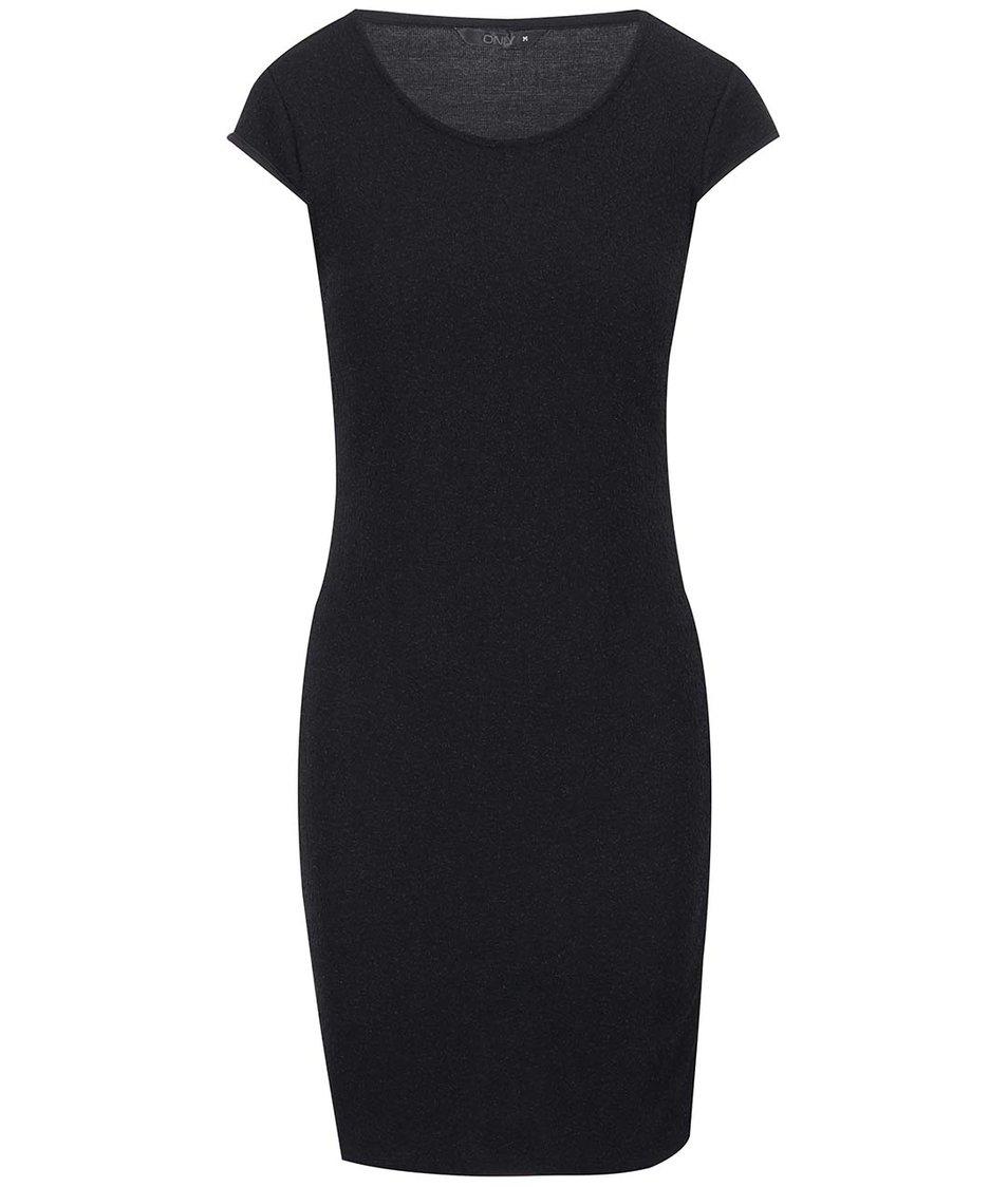 Černé přiléhavé šaty s třpytivým efektem ONLY Charlot