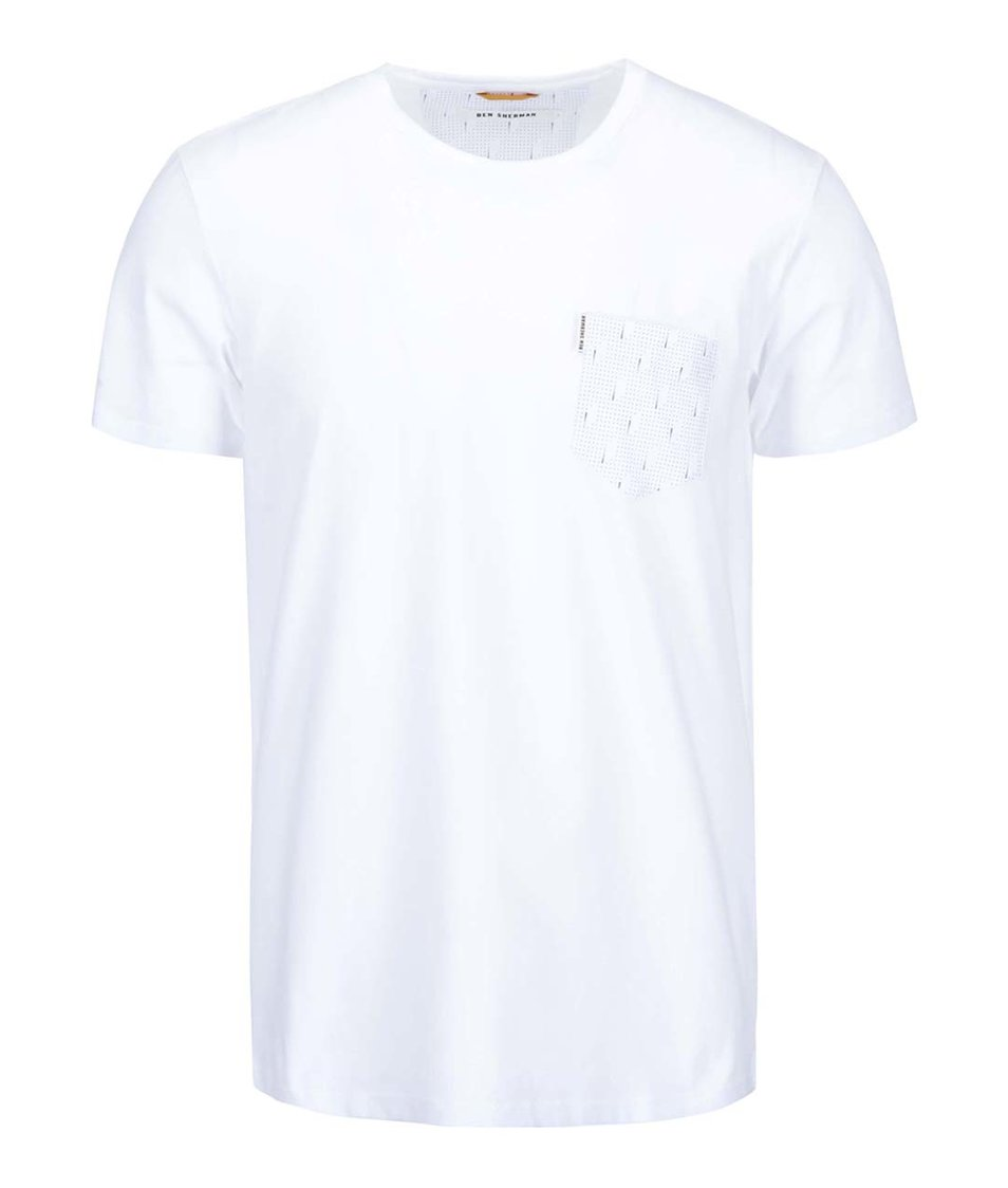 Bílé triko s náprsní kapsou Ben Sherman
