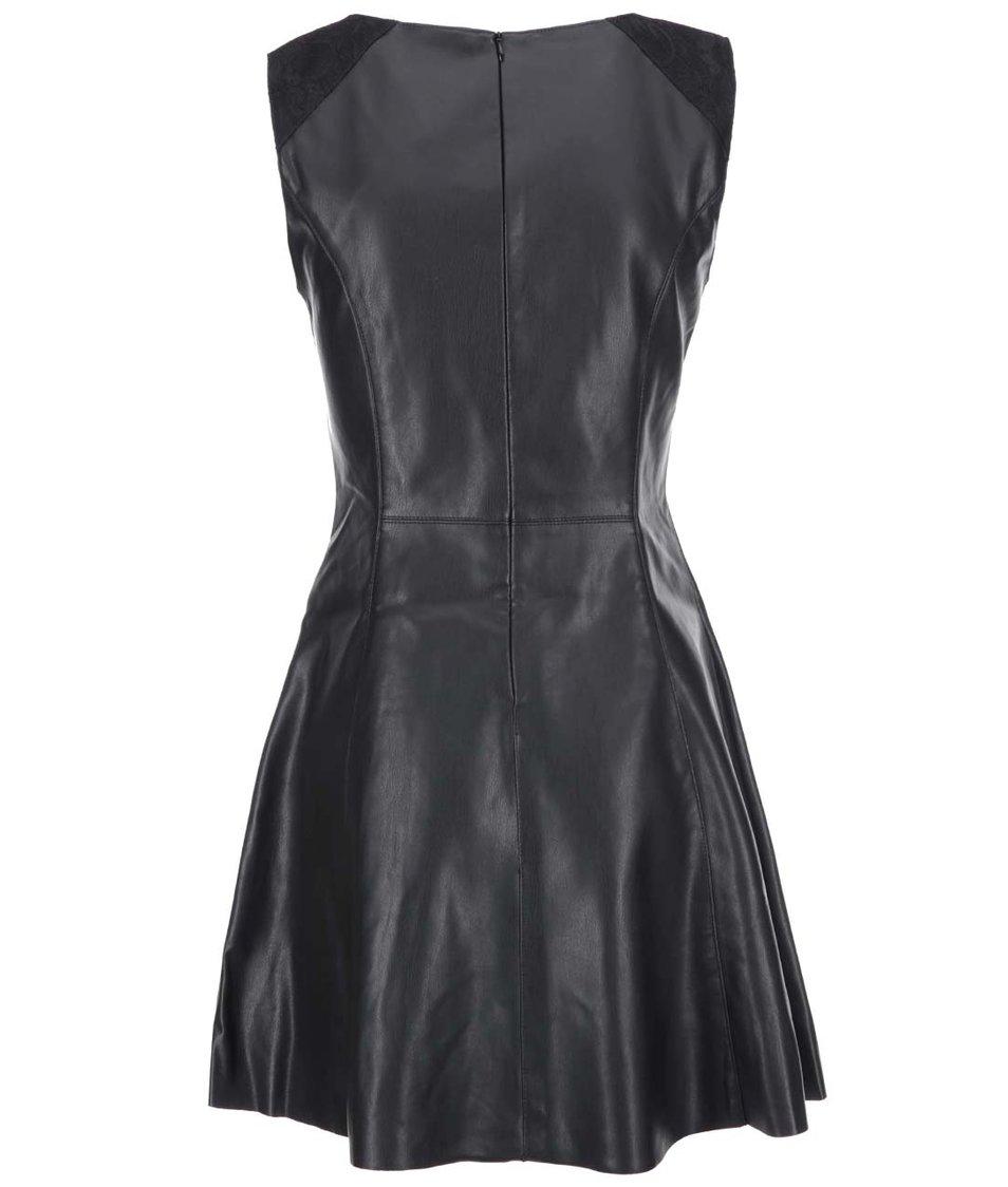 Černé koženkové šaty ONLY Flower