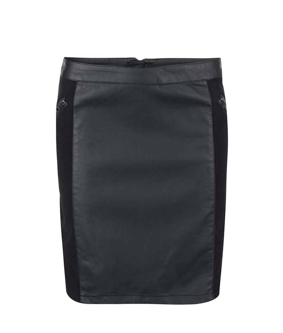 Černá koženková sukně ONLY Carma