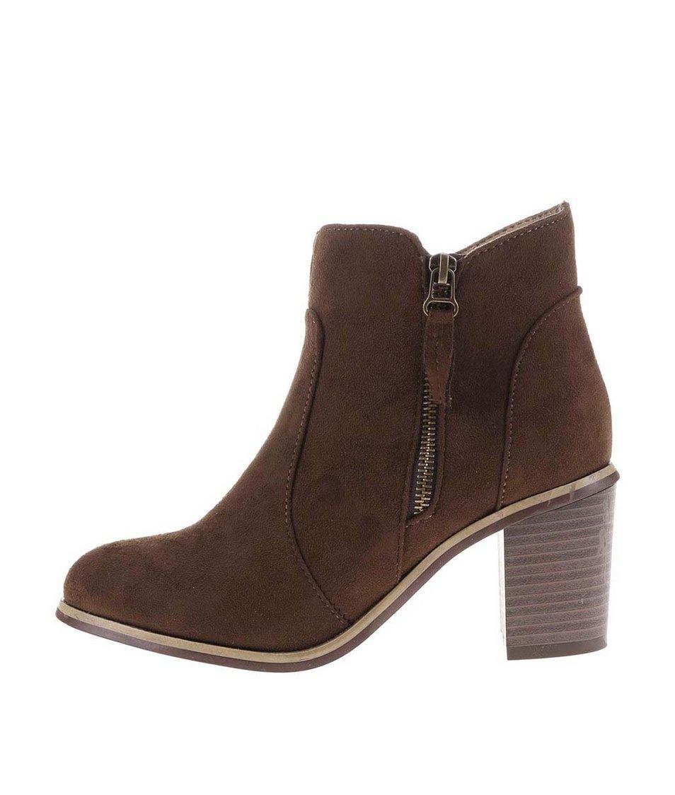 Hnědé kotníkové boty na podpatku s ozdobným zipem La Push