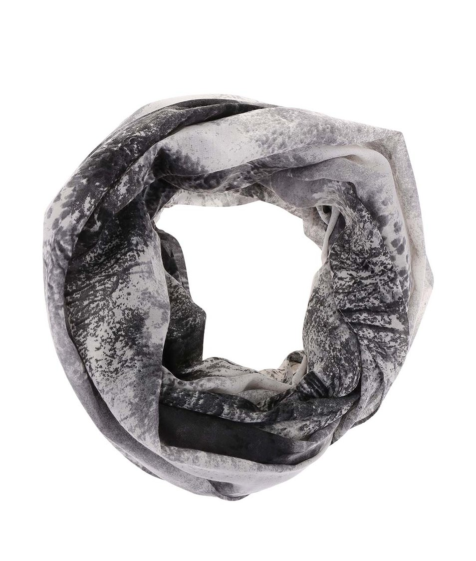 Šedý dutý šátek s motivem krajiny Pieces Vessa