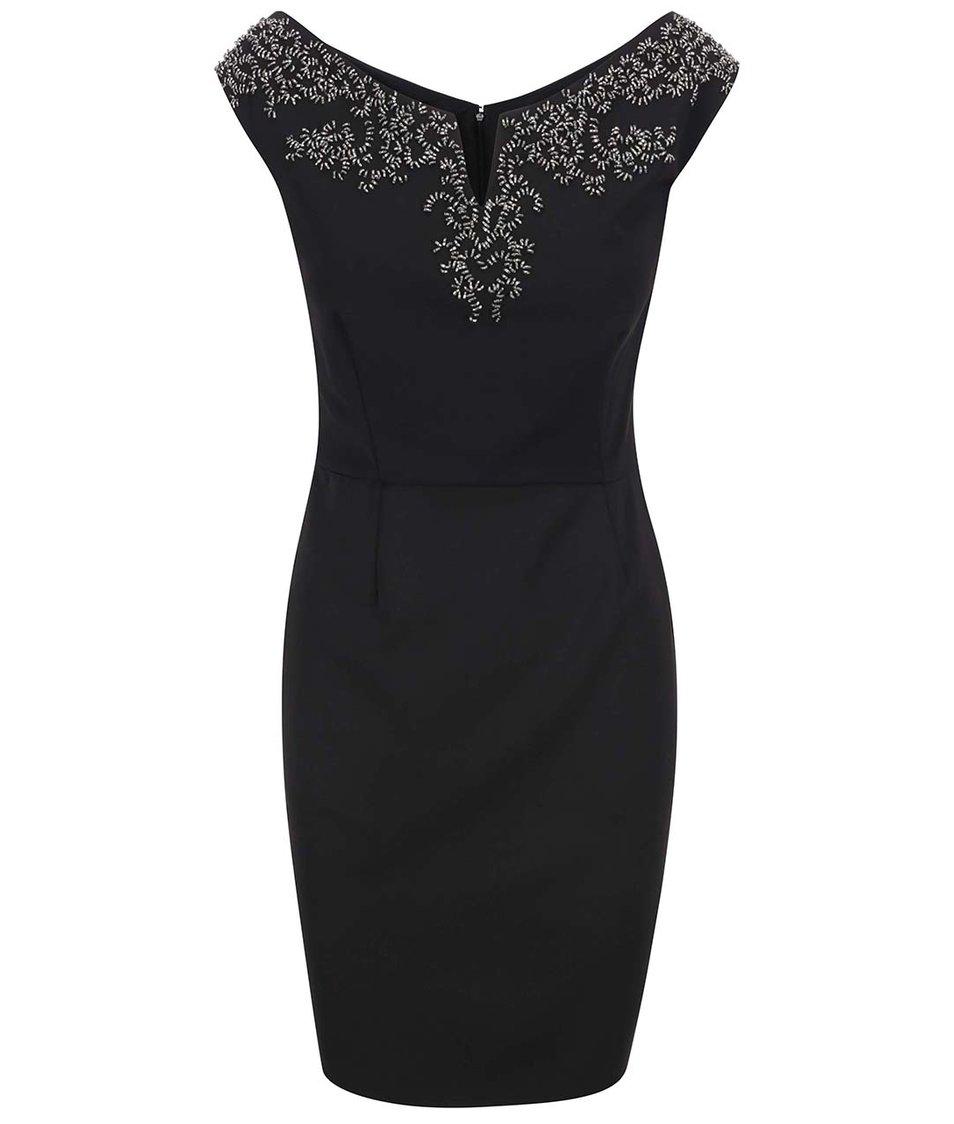 Černé pouzdrové šaty se zdobeným dekoltem Little Mistress