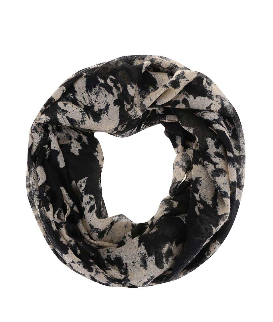 Béžovo-černý dutý šátek s abstraktními květy Pieces Vippa