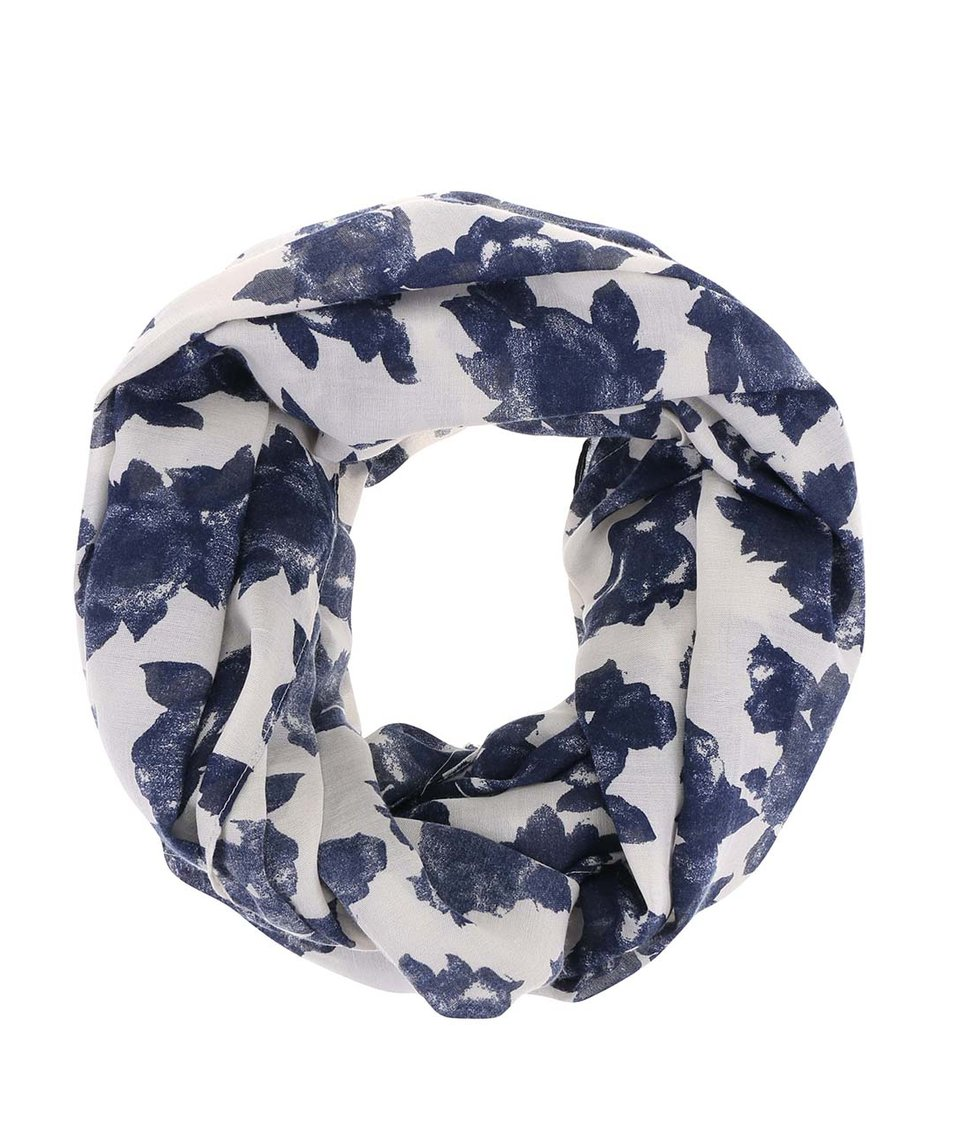 Modro-krémový dutý šátek s abstraktními květy Pieces Vippa