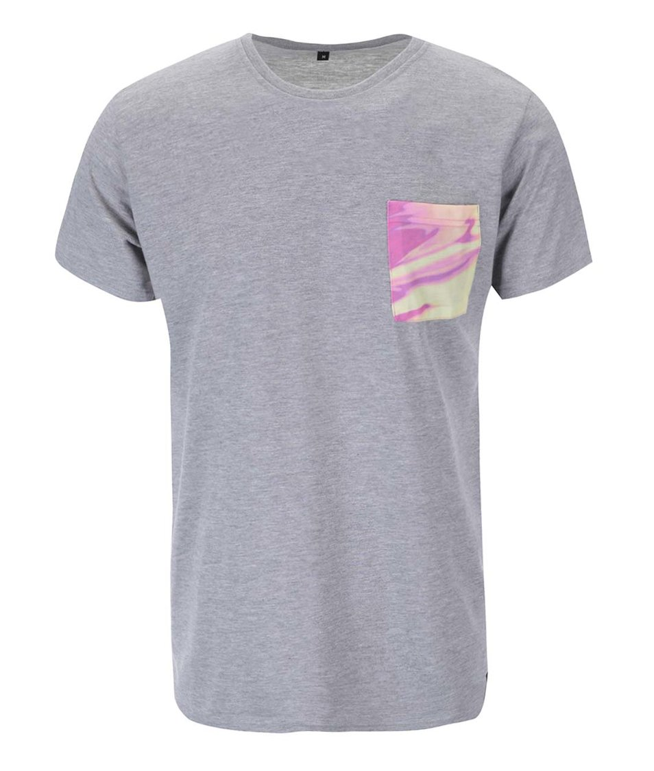 Šedé unisex triko se žlutou kapsou Grape