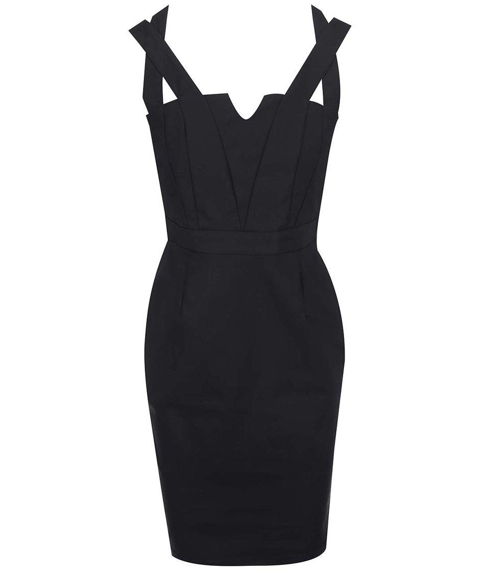 Černé šaty s překříženými rameny Paper Dolls