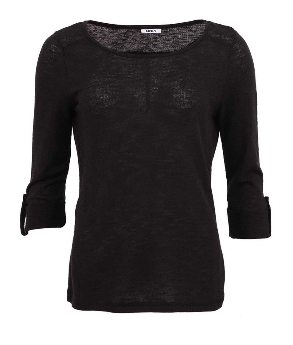 Černé triko s 3/4 rukávem ONLY Jess