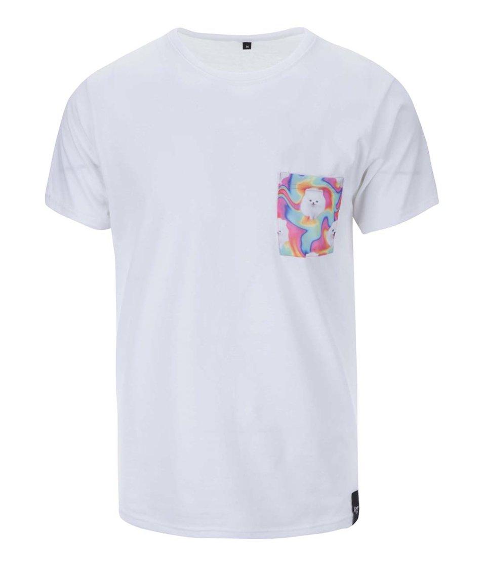 Bílé unisex triko s psíkem na kapse Grape Pocket Dogs