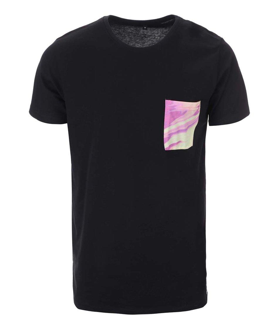 Černé unisex triko se žlutou kapsou Grape