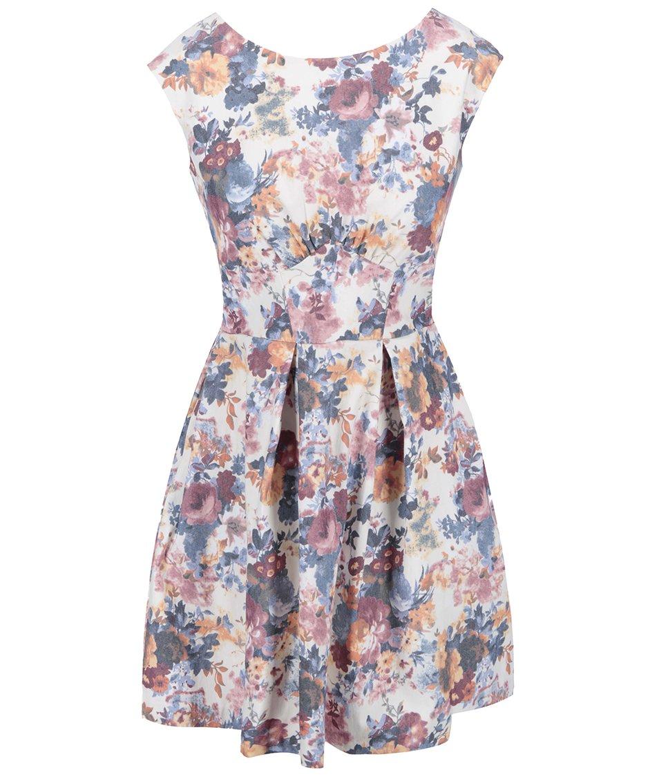 Krémové šaty s květinovým potiskem Closet