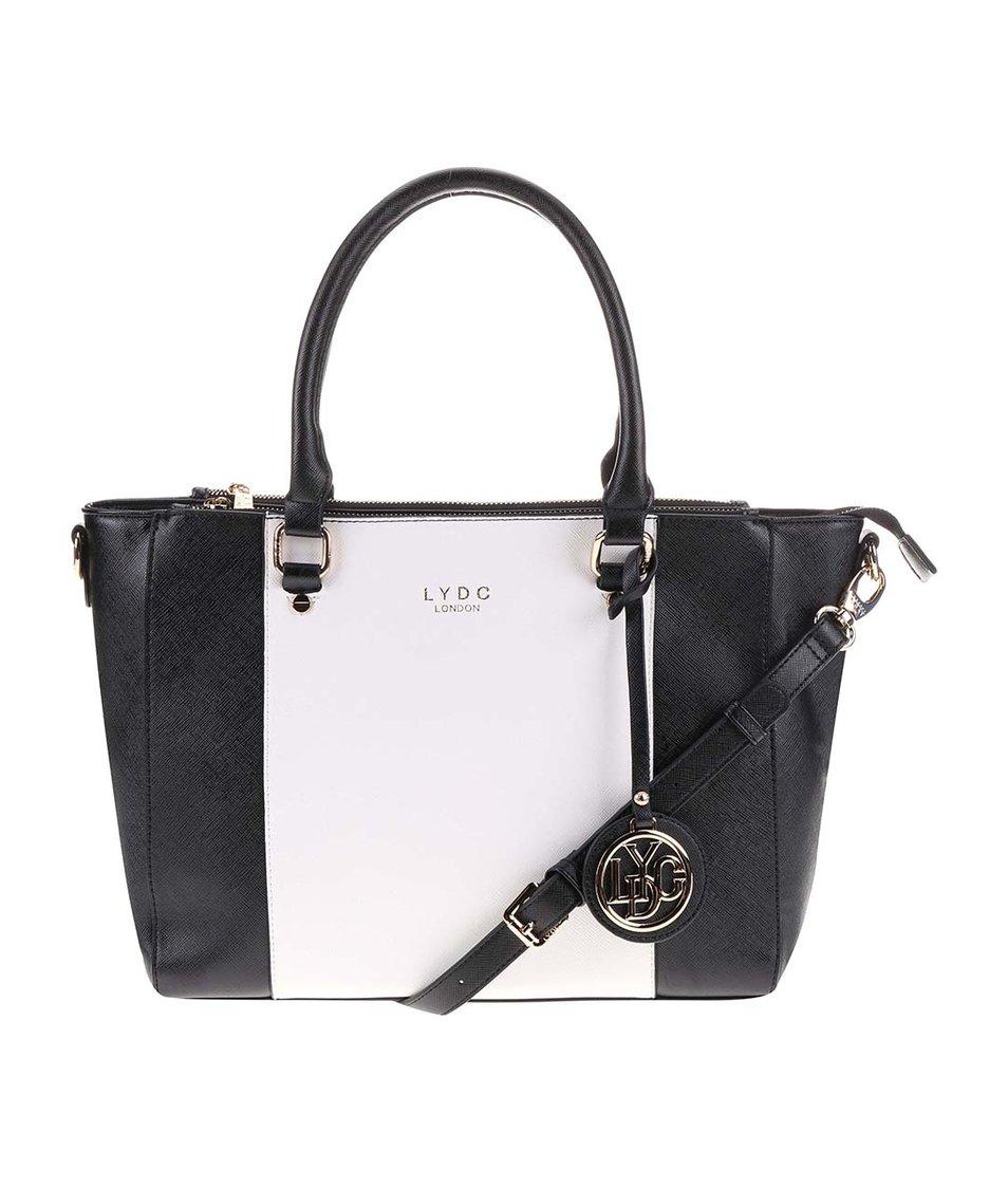 Bílo-černá kabelka s akcenty ve zlaté barvě LYDC