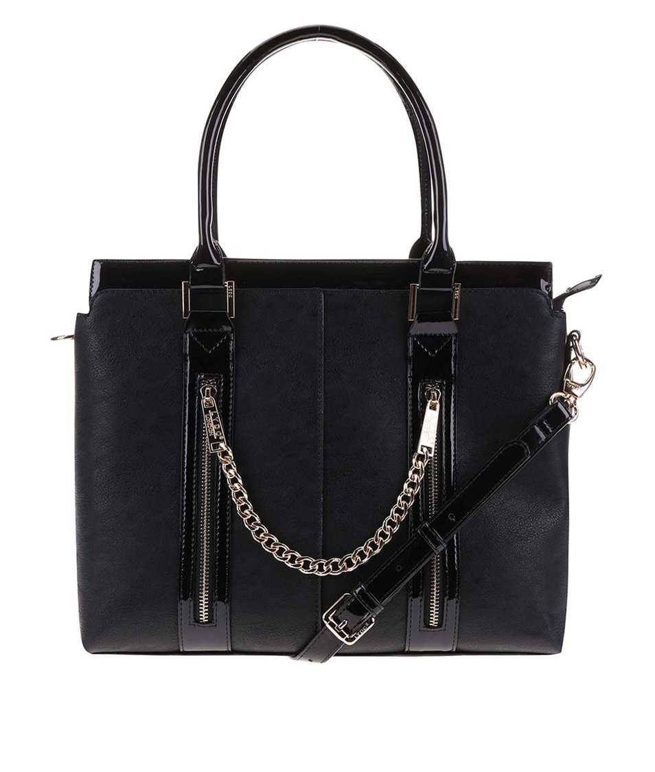 Černá kabelka s ozdobným řetízkem LYDC