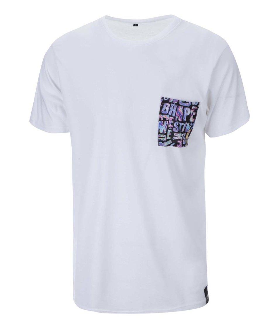 Bílé unisex triko s logem Grape Pocket