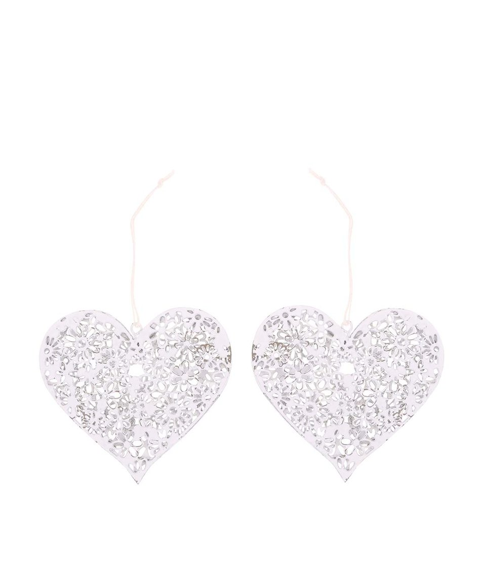 Sada dvou bílých srdcí Sass & Belle Heart