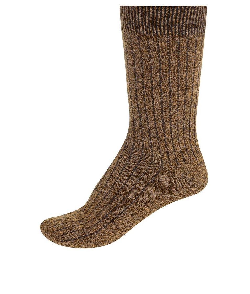 Tmavě žluté ponožky Jack & Jones Mouline
