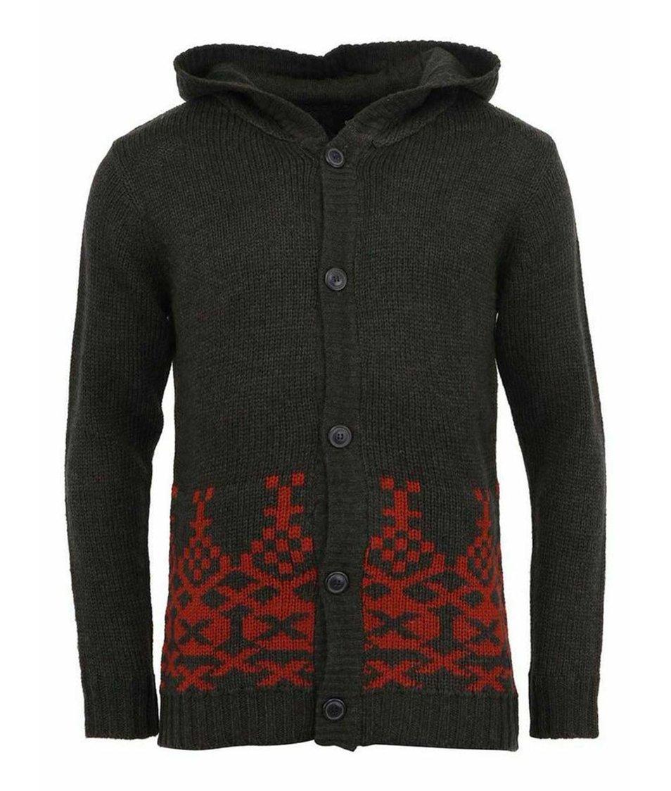 Tmavě šedý cardigan s červeným vzorem ONLY & SONS Leon