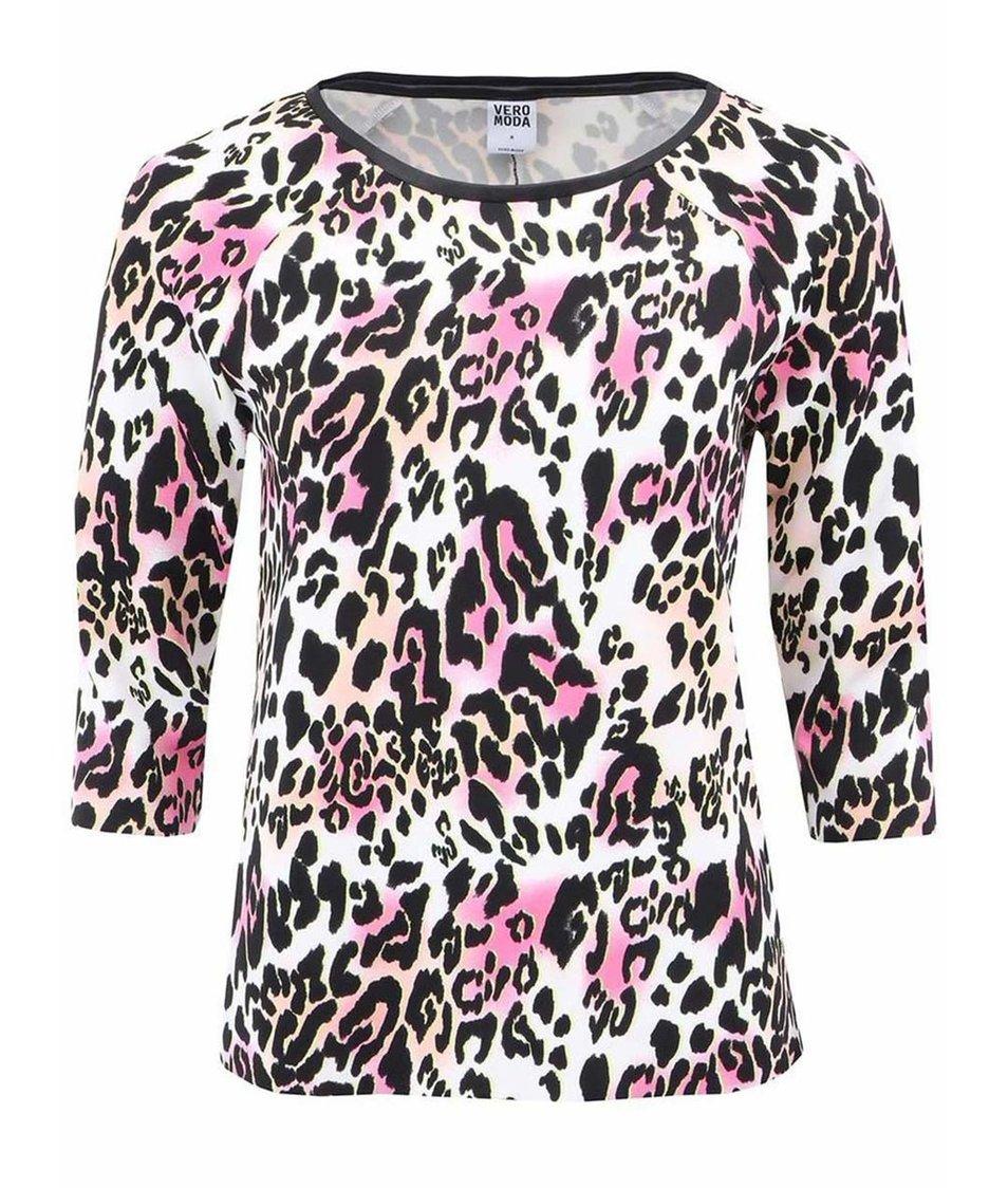 Bílo-černá halenka s leopardím potiskem Vero Moda Medine