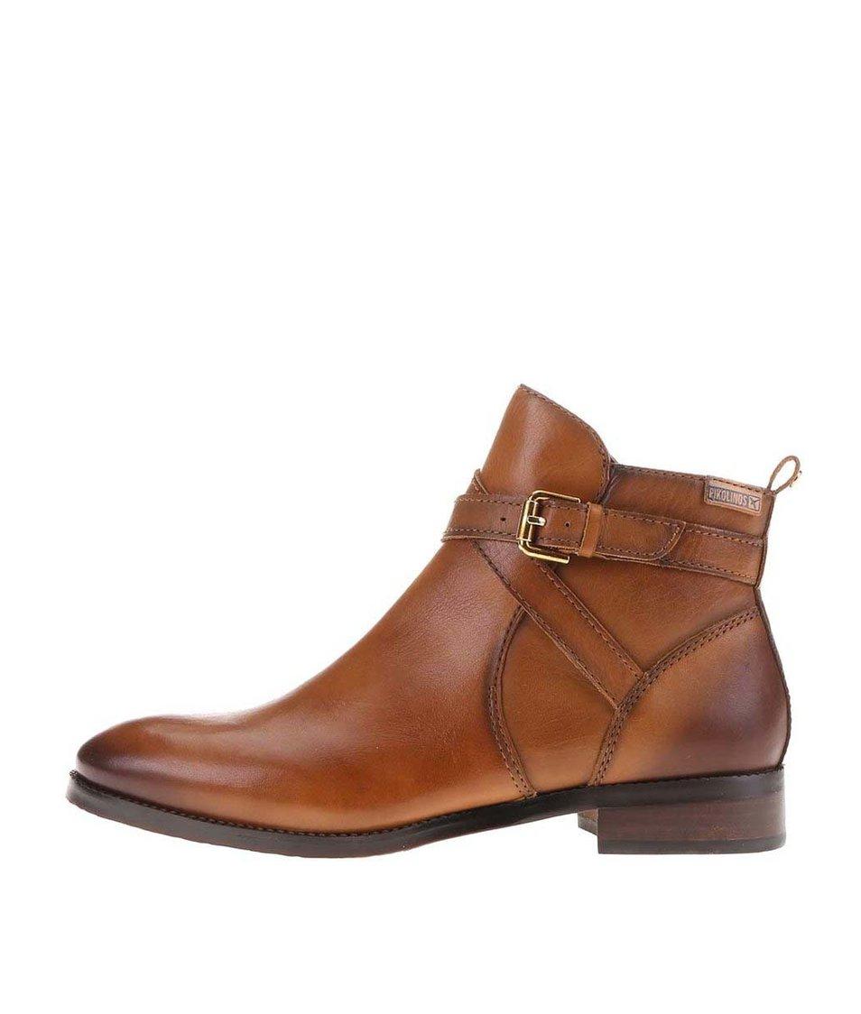 Hnědé kožené kotníkové boty Pikolinos